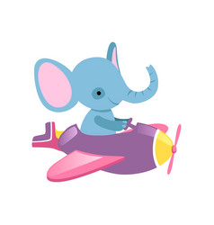 Blue elephant flying on little plane wild animal vector