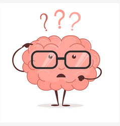 Brain cartoon with questions and glasses human vector