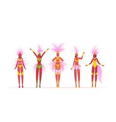 Brazilian samba dancers women isolated on white vector