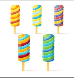 Bright colors ice-creams Set vector image