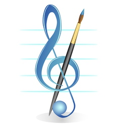 brush and treble clef vector image