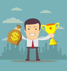Businessman holding winner cup and money vector