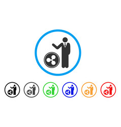 Businessman show ripple coin rounded icon vector