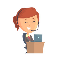 Businesswoman character sitting with laptop and vector