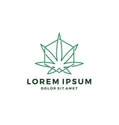 Cannabis hemp marijuana leaf geometric logo vector