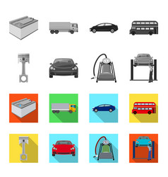 car on lift piston and pump monochromeflat icons vector image