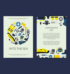 Card or brochure template for underwater vector