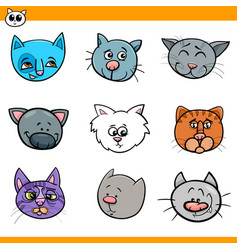 Cartoon cats and kittens icons set vector