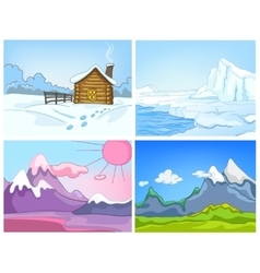 cartoon set of winter backgrounds vector image