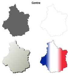 Centre region blank outline map set vector