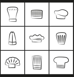 Chef hats of all shapes thin outline vector