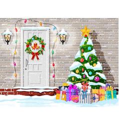 christmas door decoration vector image