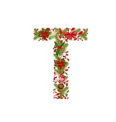Christmas floral tree letter T vector