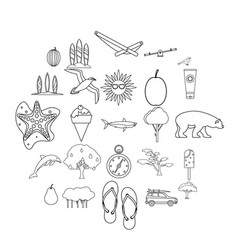 Coastal holidays icons set outline style vector