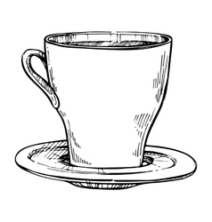Coffee cup freehand pencil drawing vector