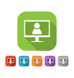 Color set of flat video chat icon vector