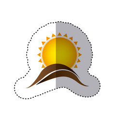 Color sticker with abstract sun over hill of land vector