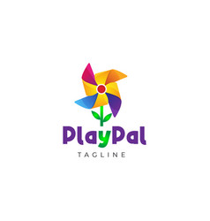 Colorful flower wind mill kids logo design vector
