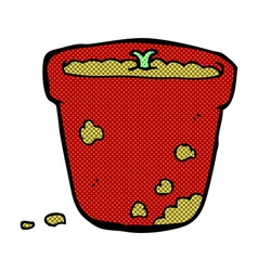 comic cartoon flower pot vector image