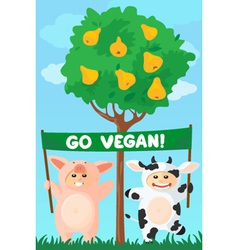 cow and pig banner vector image