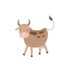 Cow With Brown Spots And Udder Standing vector image