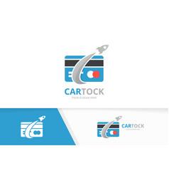 Credit card and rocket logo combination vector