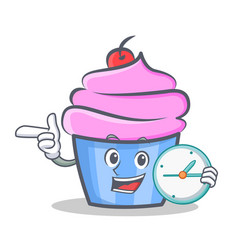 cupcake character cartoon style with clock vector image
