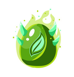 Egg with green flames and leaf print fantastic vector