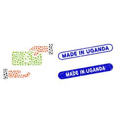Elliptic mosaic rebate with grunge made in uganda vector