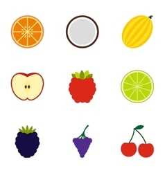 Farm fruits icons set flat style vector image