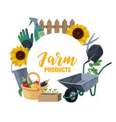 Farming and gardening tools garden shovel rakes vector