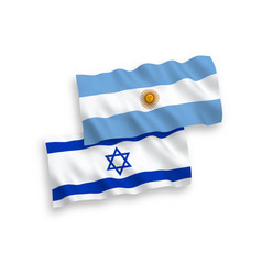 Flags argentina and israel on a white vector
