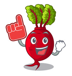 Foam finger whole beetroots with green leaves vector