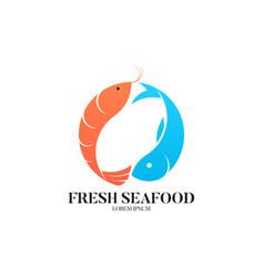 fresh seafood logo template vector image