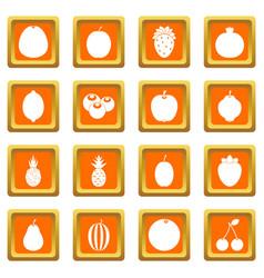 Fruit icons set orange vector