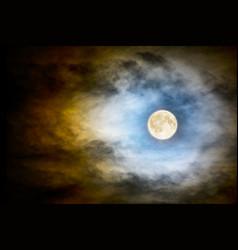 full moon over dark cloudy sky vector image