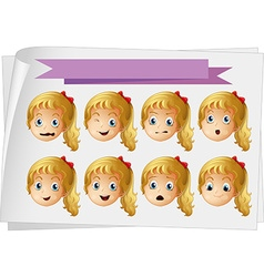 Girl faces with different emotions vector