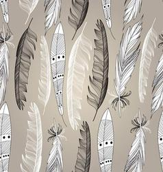 Graphic beautiful set of bird feathers on a brown vector