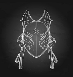 Graphic demon fox mask vector