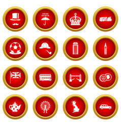 Great britain icon red circle set vector