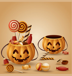 halloween pumpkins basket and collected candy vector image