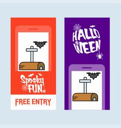 happy halloween invitation design with mailbox vector image
