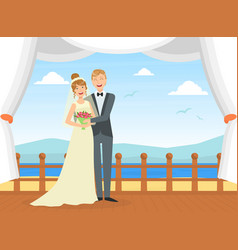 happy just married couple at wedding ceremony on vector image
