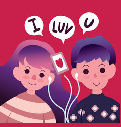 happy valentines day with love couple listening vector image