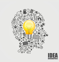 head icons with light bulb vector image