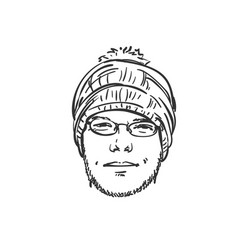 head unshaven man in knitted hat with bubo and vector image