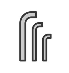 Hex key filled outline icon handyman tool and vector