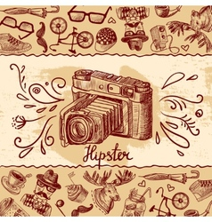 Hipster camera background vector image
