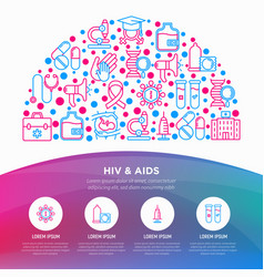 Hiv and aids concept in half circle vector