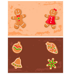 holly jolly gingerbread cookies made ginger vector image